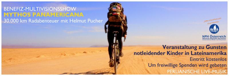 Einladung zur Benefiz-Multivisionsshow Mythos Panamericana mit Helmut Pucher