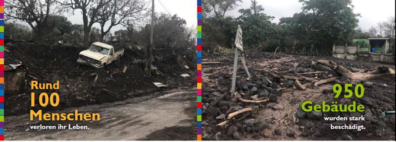 Vulkanausbruch Fuego: Wir von NPH halfen 150 Familien mit psychologischer Betreuung, versorgten 300 Menschen mit Nahrungsmitteln und Wasser und versorgten 250 Menschen mit Brandwunden und Atemwegserkrankungen medizinisch.