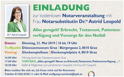 Wir laden Sie herzlich zu unserer Notarveranstaltung am Dienstag, den21 Mai, von 16 bis 19 Uhr im Diözesanmuseum Graz ein.